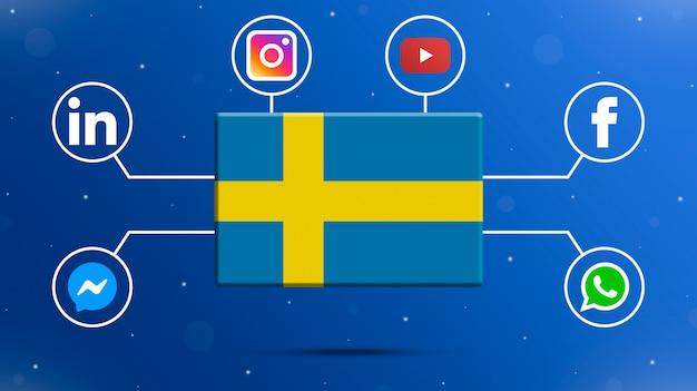 Flaga szwecji z logo mediów społecznościowych 3d