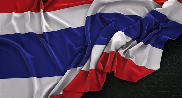 Flaga tajlandii zmarszczki na ciemnym tle renderowania 3d
