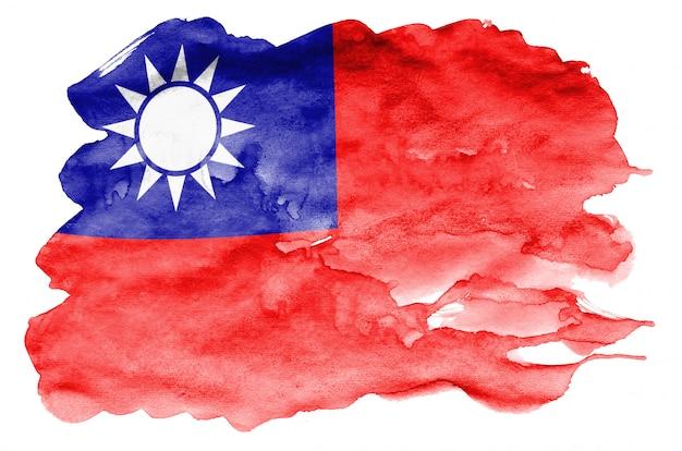 Flaga tajwanu jest przedstawiona w płynnym stylu akwareli na białym tle