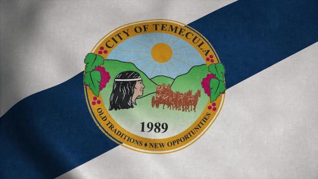 Flaga temeculi, miasto kalifornia, stany zjednoczone ameryki. renderowania 3d.