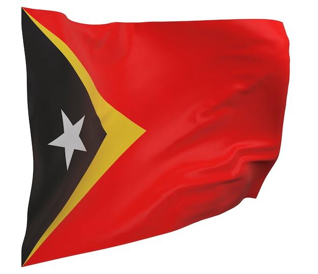 Flaga timoru wschodniego na białym tle. macha sztandarem. flaga narodowa timoru wschodniego