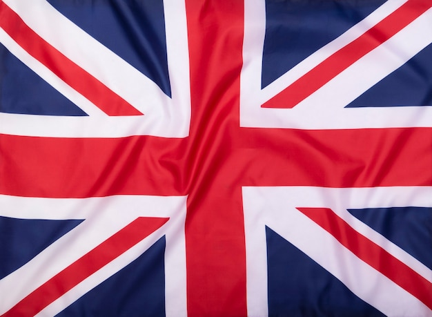 Flaga tkaniny zjednoczonego królestwa jako tło lub tekstura