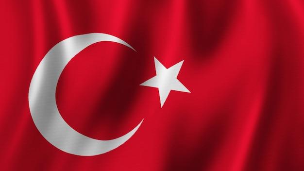 Flaga turcji macha zbliżenie renderowanie 3d z wysokiej jakości obrazem z teksturą tkaniny