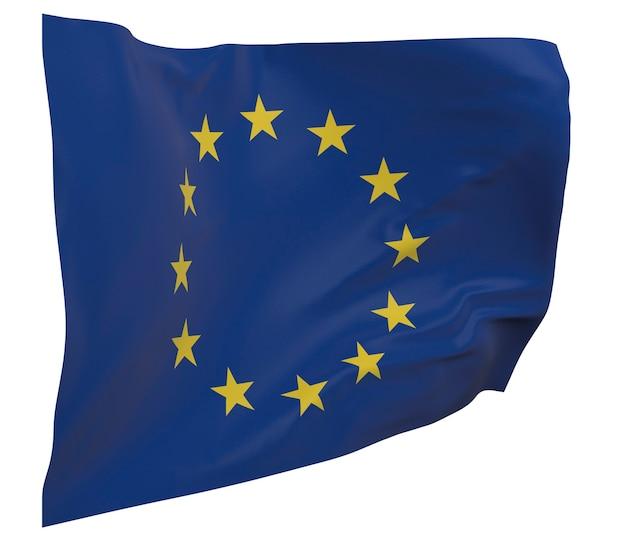 Flaga ue na białym tle. macha sztandarem. flaga europy