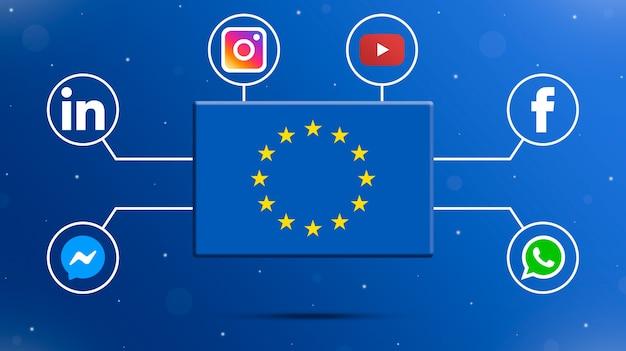Flaga ue z logo mediów społecznościowych 3d