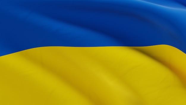 Flaga ukrainy macha na wietrze, tkaniny mikro tekstura w jakości renderowania 3d