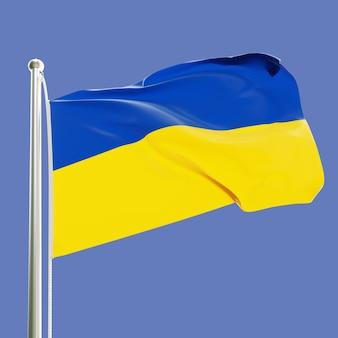 Flaga ukrainy na maszcie machającym na wietrze na tle błękitnego nieba