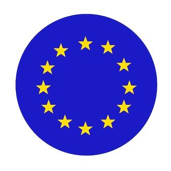 Flaga unii europejskiej, okrągła ikona. oficjalne kolory są poprawne. okrągły pierścionek z żółtych złotych gwiazd na niebieskim tle. symbol ue. flaga europy, ikona ue.