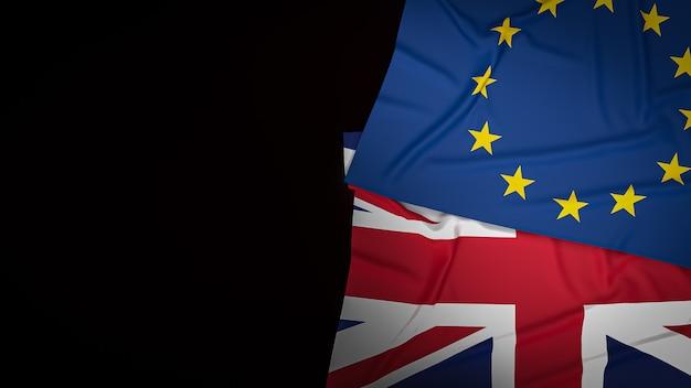 Flaga union jack i flaga euro na tle. renderowanie 3d