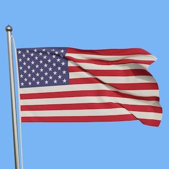 Flaga usa na masztem macha na wietrze na białym tle na niebieskim tle