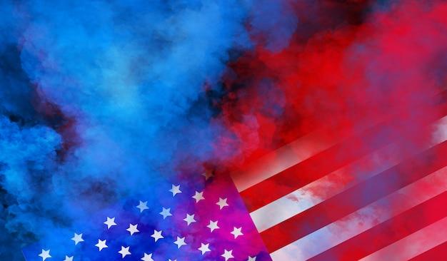 Flaga usa projekt ściany na niepodległość, weteranów, pracy, dzień pamięci. kolorowy dym na czarnej ścianie
