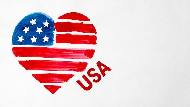 Flaga usa w kształcie płasko leżał akwarele w kształcie serca