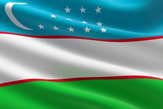 Flaga uzbekistanu. 3d ilustracja machająca flaga uzbekistanu.