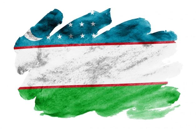 Flaga uzbekistanu jest przedstawiona w płynnym stylu przypominającym akwarele na białym tle