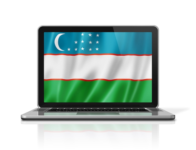 Flaga uzbekistanu na ekranie laptopa na białym tle. renderowanie 3d ilustracji.