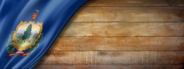 Flaga vermont na starej ścianie z drewna, usa. ilustracja 3d