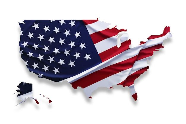 Flaga w kształcie mapy usa. wzór flagi amerykańskiej w kształcie mapy kraju na białym tle