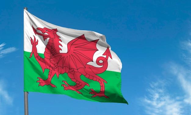 Flaga walii z czerwonym smokiem machającym na tle błękitnego nieba