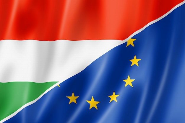 Flaga węgier i europy