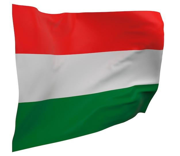 Flaga węgier na białym tle. macha sztandarem. flaga narodowa węgier