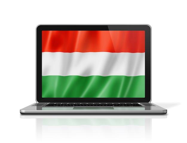Flaga węgier na ekranie laptopa na białym tle. renderowanie 3d ilustracji.
