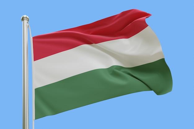 Flaga węgier na masztem macha na wietrze na białym tle na niebieskim tle