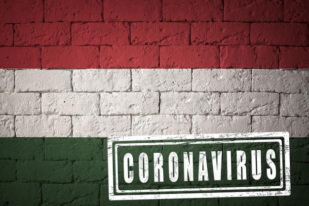 Flaga węgier o oryginalnych proporcjach. opieczętowane koronawirusem. cegła ściana tekstur. koncepcja wirusa koronowego. na skraju pandemii covid-19 lub 2019-ncov.