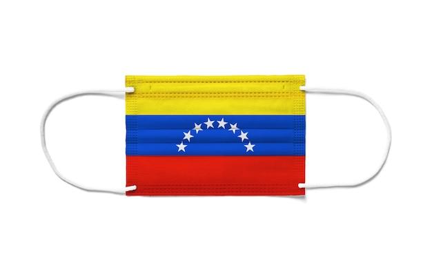 Flaga wenezueli na jednorazowej masce chirurgicznej