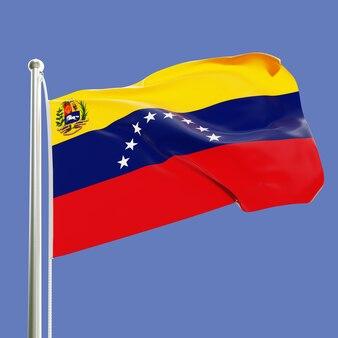 Flaga wenezueli na maszcie machającym na wietrze na białym tle na tle błękitnego nieba