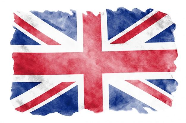 Flaga wielkiej brytanii jest przedstawiona w płynnym stylu akwareli na białym tle