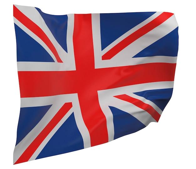 Flaga wielkiej brytanii na białym tle. macha sztandarem. flaga narodowa wielkiej brytanii