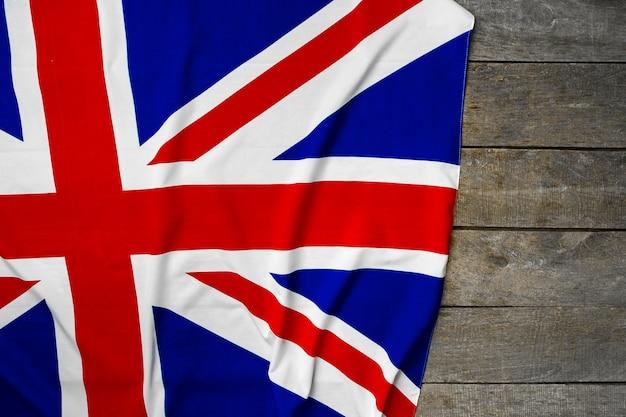 Flaga wielkiej brytanii na powierzchni drewnianych, kopia przestrzeń