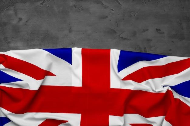 Flaga wielkiej brytanii na szarym tle, miejsce