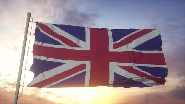 Flaga wielkiej brytanii na wietrze. flaga narodowa wielkiej brytanii. renderowanie 3d