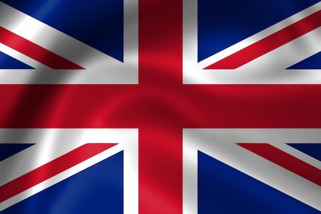 Flaga wielkiej brytanii, trójwymiarowy render, satynowa tekstura