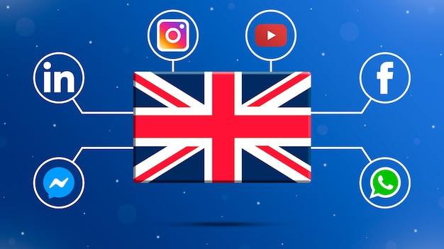 Flaga wielkiej brytanii z logo mediów społecznościowych 3d