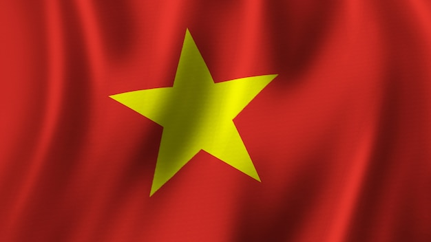Flaga wietnamska macha zbliżenie renderowanie 3d z wysokiej jakości obrazem z teksturą tkaniny