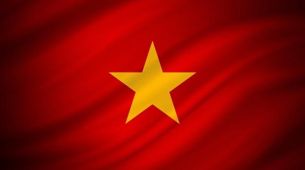 Flaga wietnamu na czerwonym płótnie
