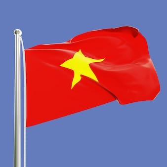 Flaga wietnamu na maszcie machającym na wietrze na tle błękitnego nieba