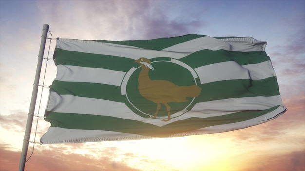 Flaga wiltshire, anglia, macha na tle wiatru, nieba i słońca. renderowania 3d.