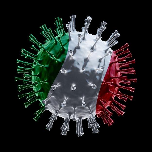 Flaga włoch na covid-19 to koncepcja wirusa. renderowanie 3d