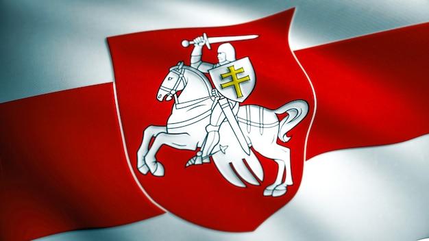 Flaga wolności białorusi. macha tkaniny tekstury flaga białorusi. pahonia arms używane przez białoruską opozycję demokratyczną w 2020 roku. renderowanie 3d.
