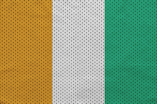 Flaga wybrzeża kości słoniowej nadrukowana na nylonowej siatce odzieży sportowej z poliestru