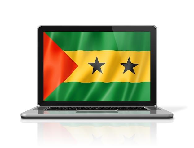 Flaga wysp świętego tomasza i książęca na ekranie laptopa na białym tle. renderowanie 3d ilustracji.