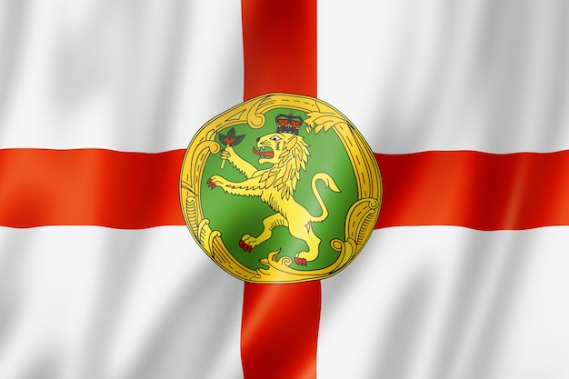 Flaga wyspy alderney, wielka brytania
