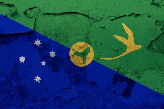Flaga wyspy bożego narodzenia malowane na pęknięty mur beton