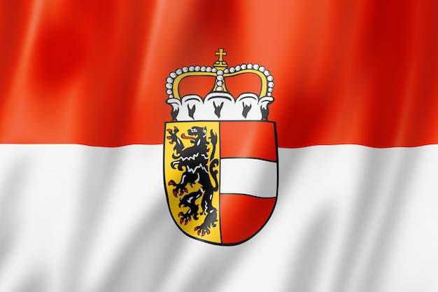 Flaga ziemi salzburskiej, austria macha kolekcja transparentu. ilustracja 3d