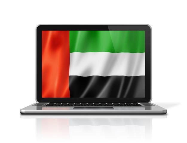 Flaga zjednoczonych emiratów arabskich na ekranie laptopa na białym tle. renderowanie 3d ilustracji.