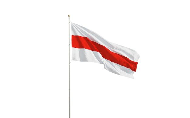 Flagi białorusi na białym tle makro na białym tle
