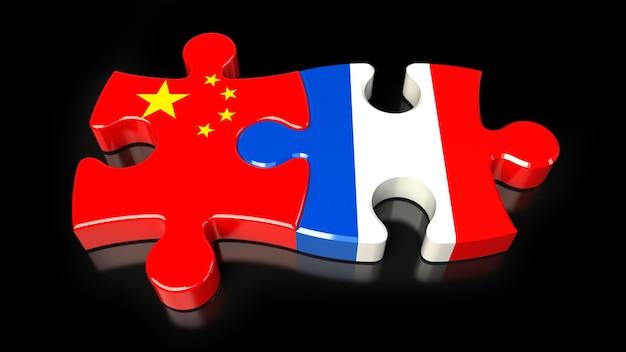 Flagi chin i francji na puzzlach. koncepcja relacji politycznych. renderowanie 3d